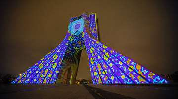 Tehran's Azadi Tower projection mapping
